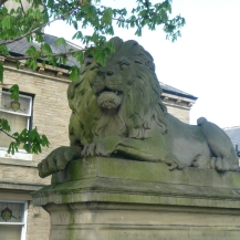 Outside Victoria Hall. Typically ornate Victorian lion