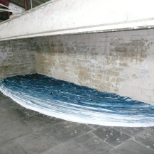 "My favourite of the artworks - a large scale ""sea"" of indigo cloth by Japanese artist Masae Bamba"