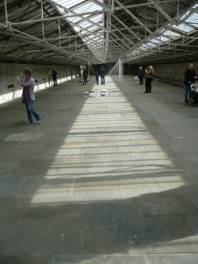 Light falling through the glass roof on the floor of the Spinning Room