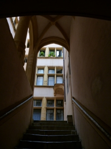 A traboule, or hidden walkway, built in the 18thc to protect silk carried by weavers from rain